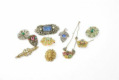 Lot of 10 x Vintage CZECH Themed Costume Jewellery Inc.Brooches, Necklace Etc