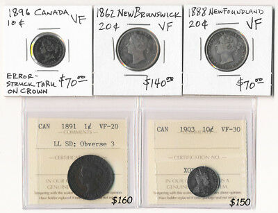 (1862-1903) Five Canada Coins ### Charlton Cv $590 Must See ### No Reserve
