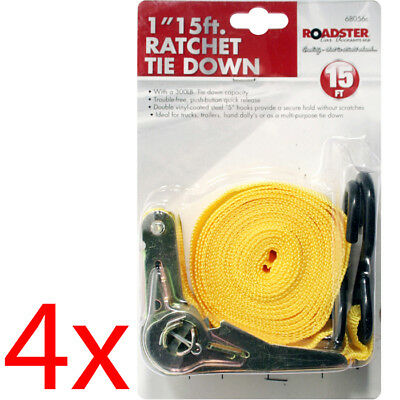Set Of 4 Ratchet Tie Down Holding Securing Strap Roof Rack Car Trailer 15Ft New