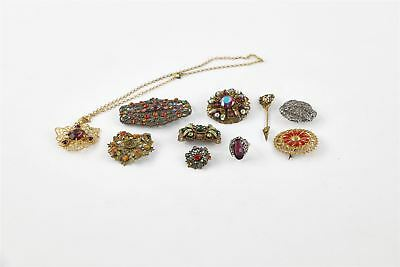 Lot of 10 x Vintage CZECH Themed Costume Jewellery MIXED Inc.Brooches, Ring Etc