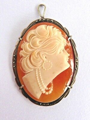 Art Deco era carved shell cameo pendant- lady with beads- silver & marcasite set