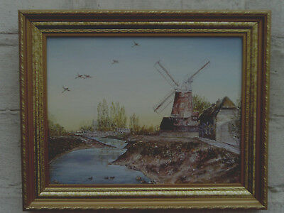 Vintage 1980 Framed Oil Painting of a Windmill near a River -signed