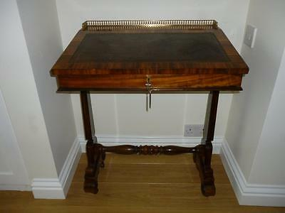 Beautiful Antique Victorian C1840 Davenport Writing desk- Lift lid & side drawer