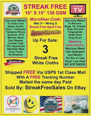 Streak Free MicroFiber Cleaning Cloths 3 Pack FREE Shipping! Made in Germany!