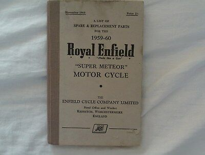 royal enfield,super meteor,spare and replacement parts book 1959-60.