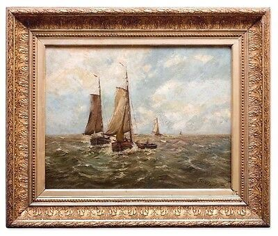 Hans Wacker  Seascape  Amsterdam Amazing Antique Oil Painting 19th Century Art