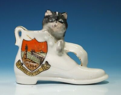 Antique Gemma Crested China Boot with Resident Cat - St Annes-on-the-Sea 1894