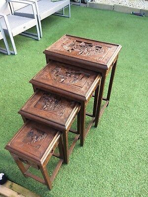Antique Hand Craved Chinese Nest Of 4 Tables