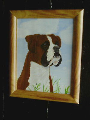 Vintage C.1990s Framed Oil or Acrylic Original Painting of a Boxer Dog