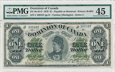 DOMINION OF CANADA 1 Dollar 1878 DC-8e-iii-O - PMG 45 Choice Extremely Fine