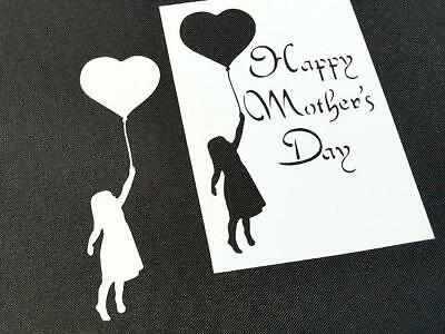 Happy Mother's Day Girl with Balloon Reusable Stencil Cake Card Party Craft Gift