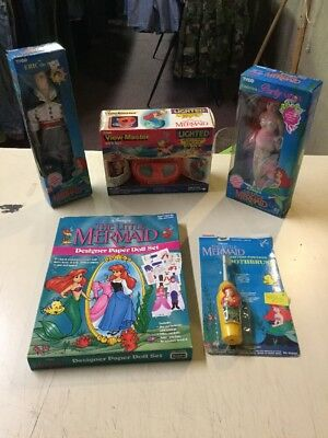 Vintage 1991 Disney's the Little Mermaid Figures, Toothbrush & Viewmaster & Etc