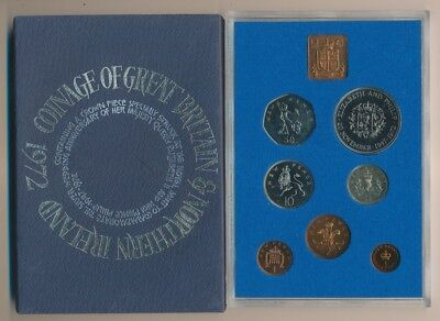 Great Britain: 1972  Proof set ½p to 50p QEII Silver Wedding crown (7 coins)