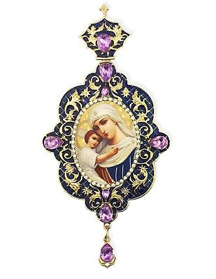 Framed Madonna and Child Christ Icon Pendant Ornament 5 1/2 Inch Blue With Gold