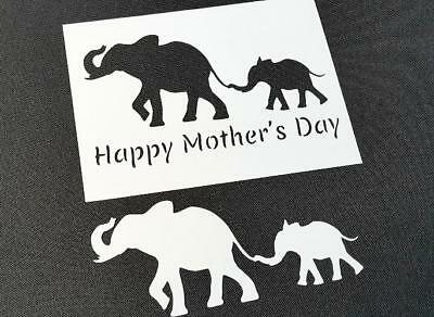 Happy Mother's Day Text Elephant and Kid Reusable Stencil Cake Cards Craft Gift