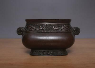 Hu Wenming Signed Antique Chinese Bronze or Copper Incense Burner w/Lion