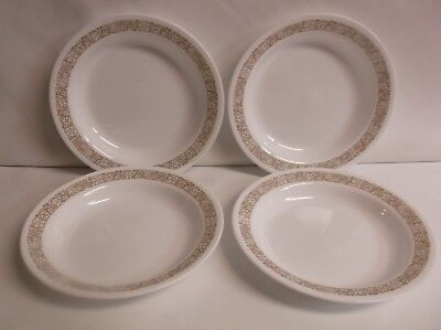 4 Corelle Woodland Brown Wide Rim Soup Salad Bowls Nice HTF