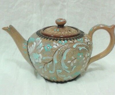 antique Doulton Lambeth Slaters patent miniature Teapot brown and blue floral