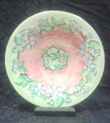 Maling Lustre Large Plate Embossed Blossom Bough, Rose Pattern # 6565