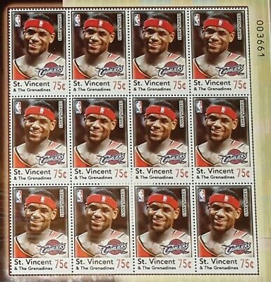 2005 LEBRON JAMES #23Postage Stamps (qty 12) Sheet CLEVELAND CAVALIERS NBA MINT!