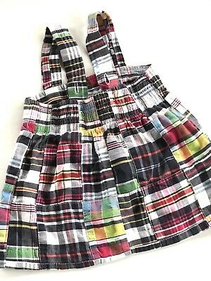 Kelly's Kids Madras Plaid Skirt With Suspenders, Size 18 Months,Preppy,Summer