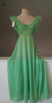 Vintage 50's Virginia Wallace Lingerie Green Nylon Chiffon Nightgown Size M