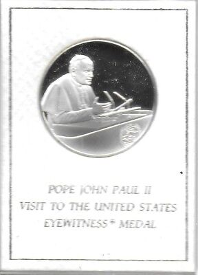 Pope John Paul II Visit To The UN 1979 Sterling Silver Medal W/COA Gem Proof