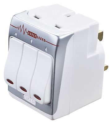 Masterplug MSWRG3 13A 3 Socket Indoor Power Surge Protected Switched Adaptor