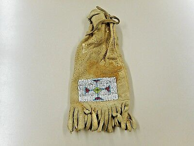 """Very Old and Authentic Sioux  Beaded Charm Bag. Arrow Design. 8"""" x 3 1/2"""""""