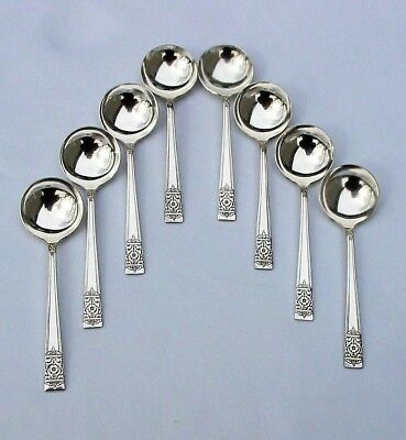 Set of 8 Vintage 1948 INAUGURATION Pattern Silverplate Soup Bouillion Spoons