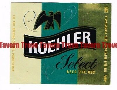 Unused 1960s PENNSYLVANIA Erie KOEHLER BEER Pint 16oz Label