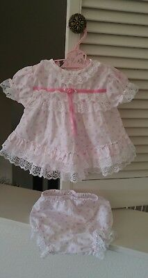 Vintage Sesame Street Baby Girl's Heart Dress & Bloomers with Lace~ 0-3 mths~