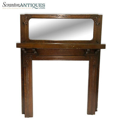 Antique Architectural Victorian Tiger Oak Mirrored Top Fireplace Mantel