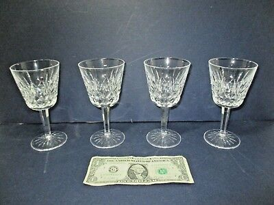 """Set of 4 WATERFORD Crystal Wine Glasses Goblets Stems 6"""" Tall"""