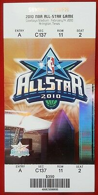2010 NBA ALL-STAR GAME TICKET - Cowboys Stadium - Arlington,TX  SUN 2/14/10 MINT