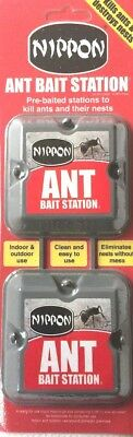 Nippon Ant Bait Station Twin Pack Kill Ants & Their Nests Indoor & Outdoor Use