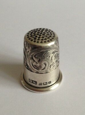 Beautiful Vintage Engraved With Floral Motif Sterling Silver Thimble