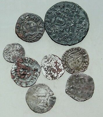 L6 Lot of 8x Medieval  AE & AR Coins D=13-20mm