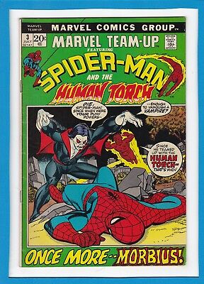 MARVEL TEAM-UP #3_JULY 1972_VF MINUS_SPIDER-MAN_HUMAN TORCH_3rd APP MORBIUS!