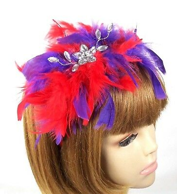 Chandelle Feather Headband Fascinator Crystal Flower Society Colors Red Hat Lady