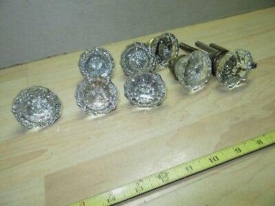8 Vintage Crystal Glass Door Knobs Hardware for restoration