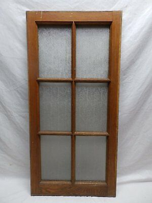 Antique Oak 6-Lite Window Sash Privacy Glass Casement Vtg 461-18P