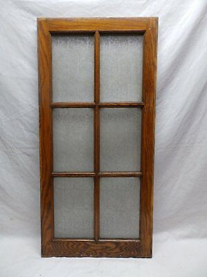 Antique Oak 6-Lite Window Sash Privacy Glass Casement Vtg 463-18P