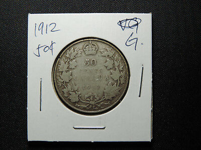 1912 50 Cent Coin Canada King George V Fifty Cents .925 Silver G Condition
