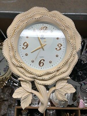 Cream Flower Diamante Crystals Vintage Wall Clock Colour Romany Italian uk