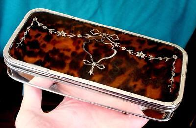 Large 325g Antique Solid Silver faux Tortoiseshell Pique Inlaid Box - Ldon 1915