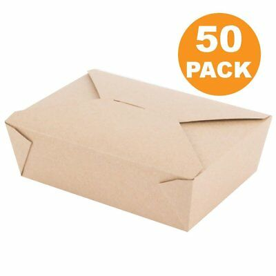 Disposable Paper Take Out Food Containers (50 Ct) Restaurant To Go Boxes, NO TAX