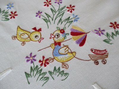 Pretty Easter Tablecloth Embroidered Chicks & Flowers