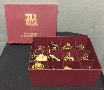 1992 Danbury Mint Gold PLated Chritmas Ornament Collection 12 PIeces + 2 extra