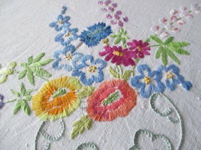 Vintage Tablecloth Hand Embroidered With Bowls Of Flowers